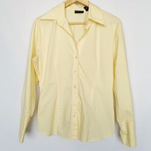 New York & Company Yellow Button Down Blouse Shirt